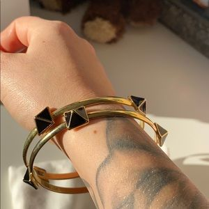 Black and gold park lane bangles